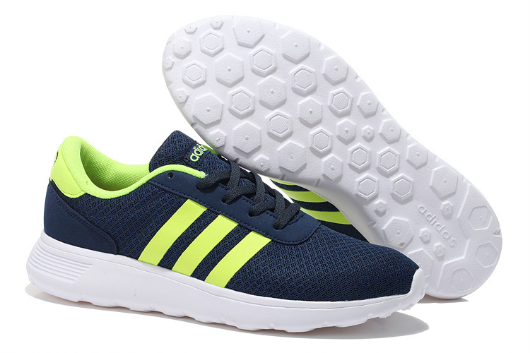 Men's/Women's Adidas NEO Lite Racer Shoes Navy Blue/Apple Green