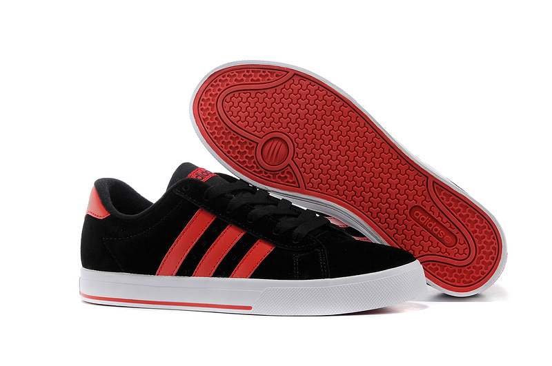 Men\'s/Women\'s Adidas NEO SE Daily Vulc Suede Shoes Core Black/University Red F39073