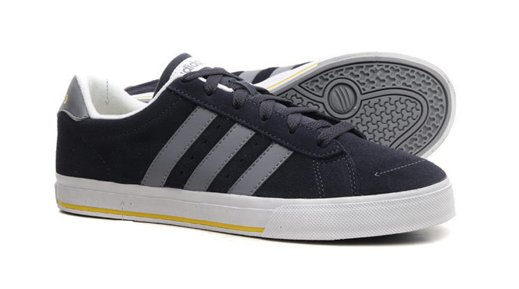 Men's/Women's Adidas NEO SE Daily Vulc Suede Shoes New Navy/Sun/Tech Grey F39074