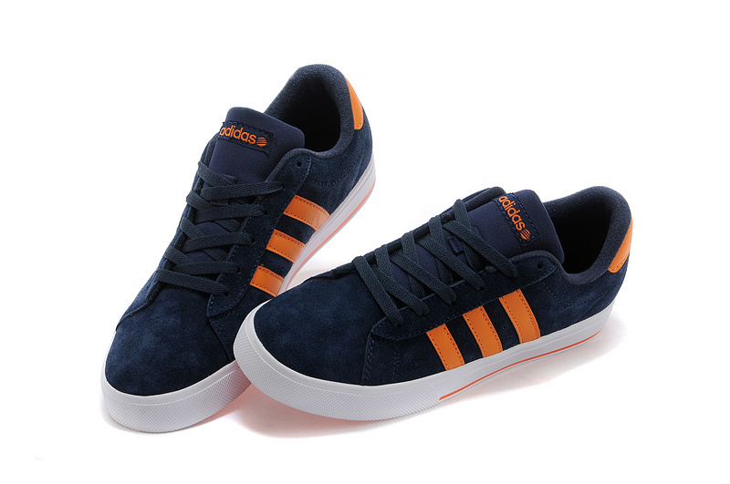Men\'s/Women\'s Adidas NEO SE Daily Vulc Suede Shoes New Navy/Orange F39075