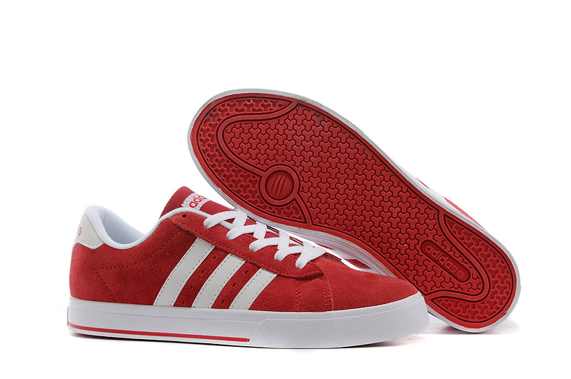 Men's/Women's Adidas NEO SE Daily Vulc Suede Shoes University Red/Running White F39078