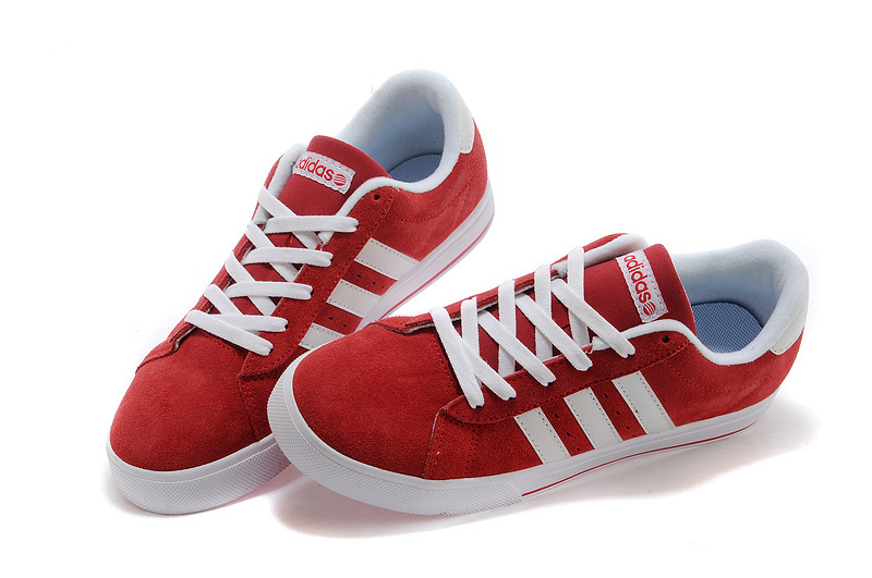 Men\'s/Women\'s Adidas NEO SE Daily Vulc Suede Shoes University Red/Running White F39078