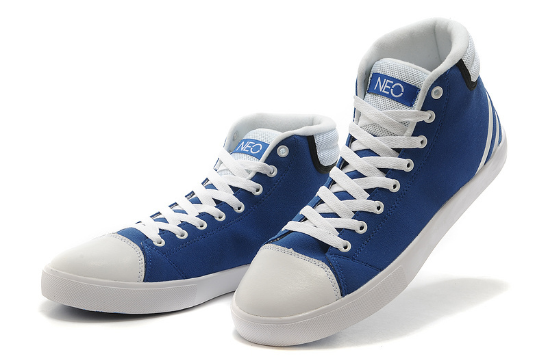 Men's/Women's Adidas NEO High Tops Shoes Bold Blue/White
