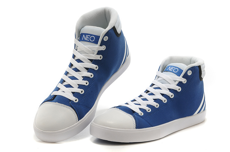 Men\'s/Women\'s Adidas NEO High Tops Shoes Bold Blue/White