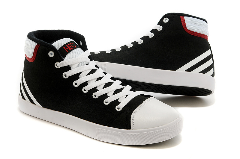 Men\'s/Women\'s Adidas NEO High Tops Shoes Black/White/Bright Red