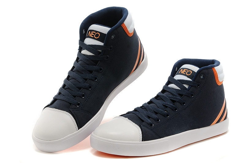 Men's/Women's Adidas NEO High Tops Shoes New Navy/Orange/White