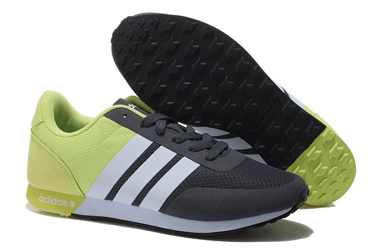 Men's/Women's Adidas NEO V Racer TM Apr Running Shoes Black/White/Fluorescent Green