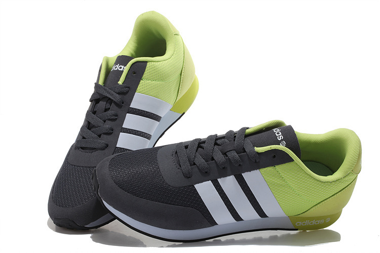 Men\'s/Women\'s Adidas NEO V Racer TM Apr Running Shoes Black/White/Fluorescent Green