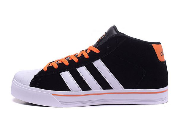 Men's Adidas Classic NEO High Tops Shoes Black White Orange F98981