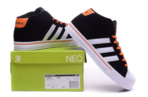 Men\'s Adidas Classic NEO High Tops Shoes Black White Orange F98981