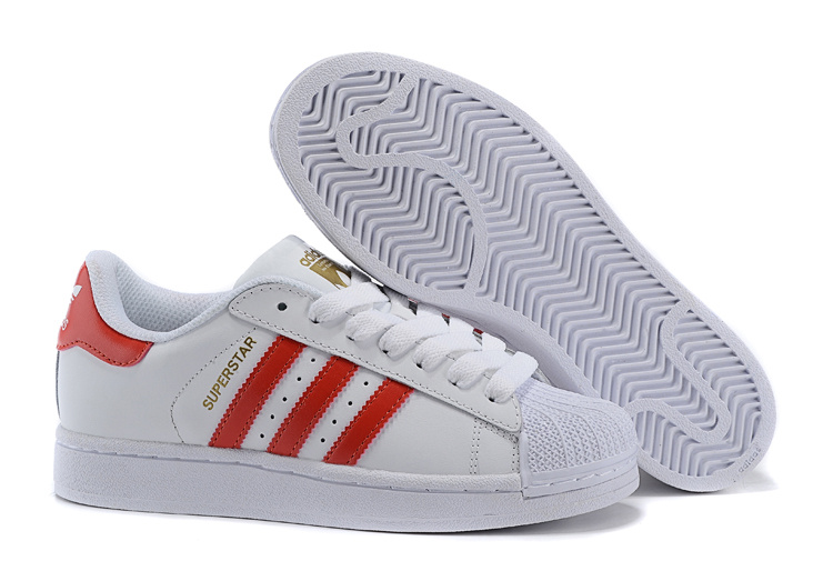 Men's/Women's Adidas Originals Superstar Foundation Shoes Running White Ftw/Light Scarlet/Running White B27139