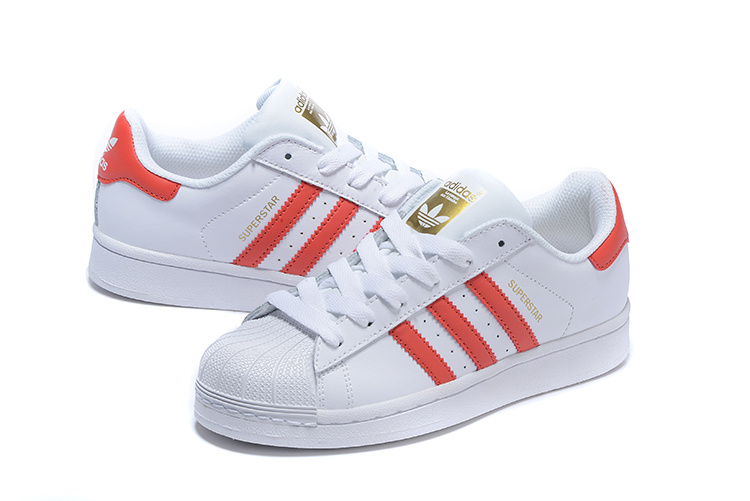 Men\'s/Women\'s Adidas Originals Superstar Foundation Shoes Running White Ftw/Light Scarlet/Running White B27139