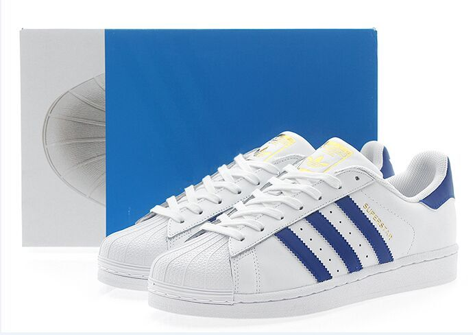 Men\'s/Women\'s Adidas Originals Superstar Foundation Shoes Running White Ftw/Blue/Running White B27141
