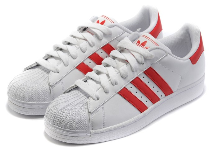 Men\'s/Women\'s Adidas Originals Superstar II Shoes White/Scarlet G43681