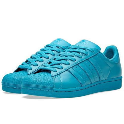 Men's/Women's Adidas Originals Superstar Supercolor Pack Shoes Collegiate Aqua/Collegiate Aqua/Collegiate Aqua S41817