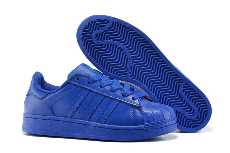 Men's/Women's Adidas Originals Superstar Supercolor Pack Shoes Bold Blue/Bold Blue/Bold Blue S41814