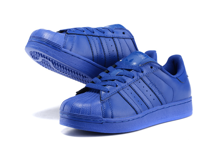 Men\'s/Women\'s Adidas Originals Superstar Supercolor Pack Shoes Bold Blue/Bold Blue/Bold Blue S41814