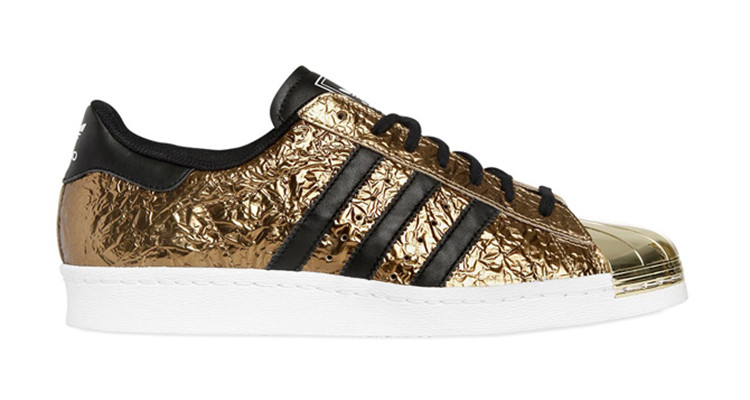 Men\'s/Women\'s Adidas Originals Superstar 80s Metal Toe Shoes Gold Foil