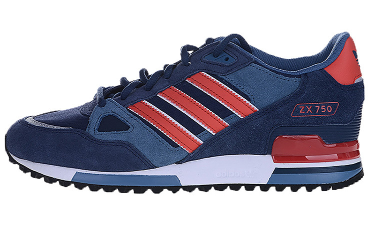 Men\'s/Women\'s Adidas Originals ZX 750 Shoes Collegiate Navy/Red/White M18260