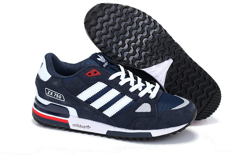 Men's/Women's Adidas Originals ZX 750 Shoes Navy Blue/White V145352