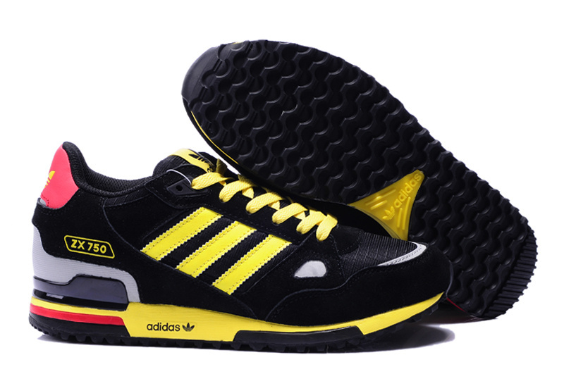 Men's/Women's Adidas Originals ZX 750 Shoes Black/Yellow/White/Red