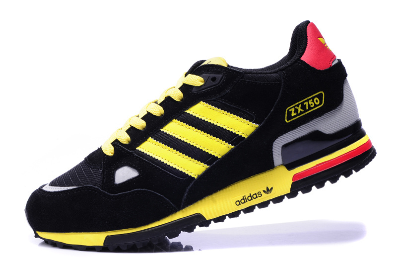 Men\'s/Women\'s Adidas Originals ZX 750 Shoes Black/Yellow/White/Red