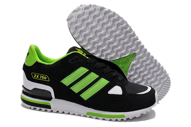 Men's/Women's Adidas Originals ZX 750 Shoes Core Black/Grass Green/Running White G64002