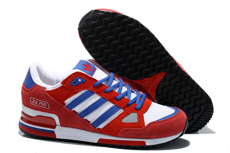 Men\'s/Women\'s Adidas Originals ZX 750 Shoes University Red/Running White/Bold Blue M21229