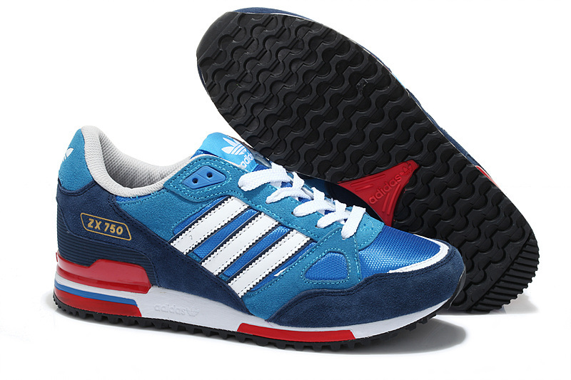 Men's/Women's Adidas Originals ZX 750 Shoes Bold Blue/Navy/Running White/Fuchsia