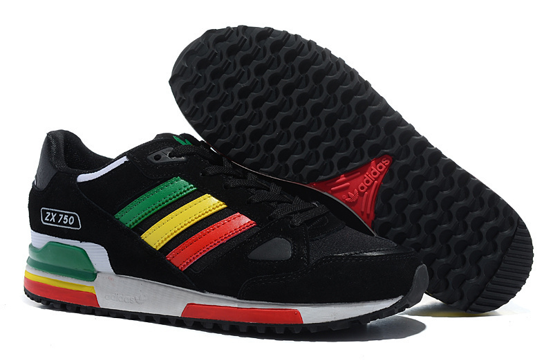 Men's/Women's Adidas Originals ZX 750 Shoes Black/Red/Green/Gold V20866