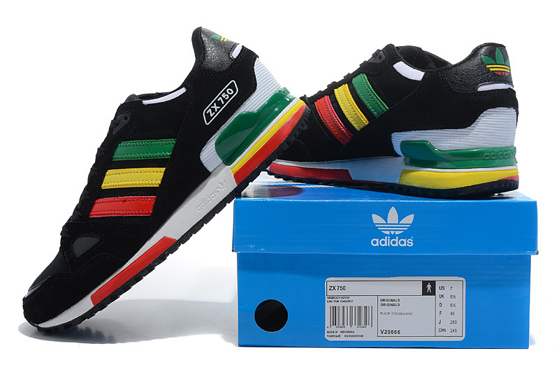 Men\'s/Women\'s Adidas Originals ZX 750 Shoes Black/Red/Green/Gold V20866