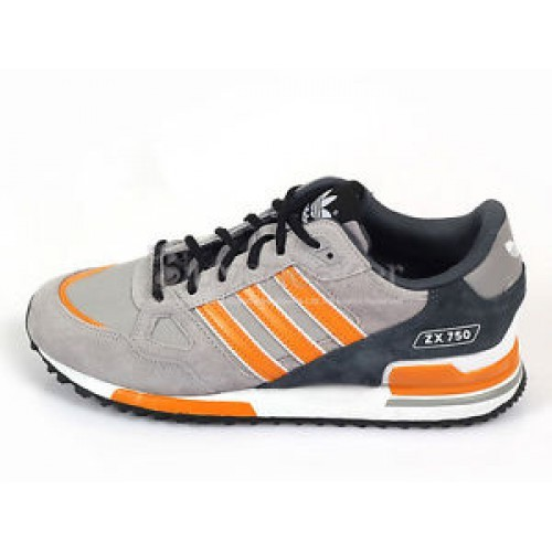 Men's/Women's Adidas Originals ZX 750 Shoes Light Grey/Charcoal Grey/Orenge