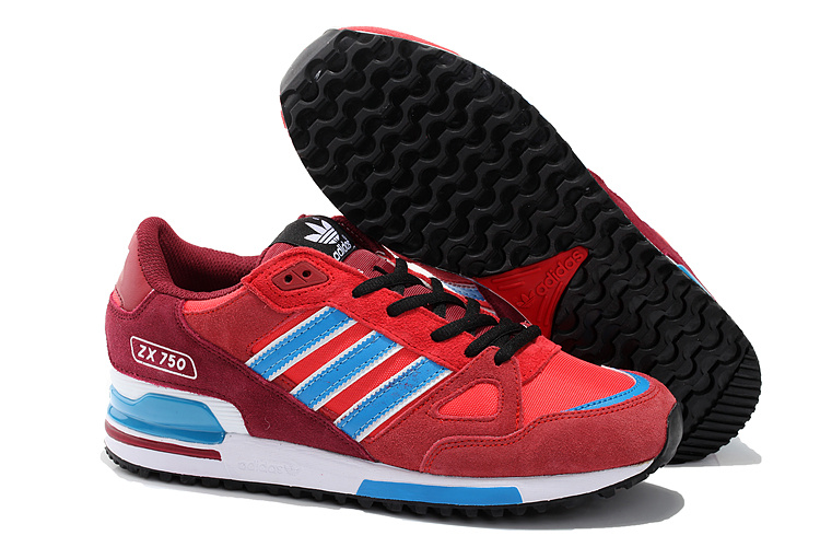 Men's/Women's Adidas Originals ZX 750 Shoes University Red/Blue/Core Black D65231