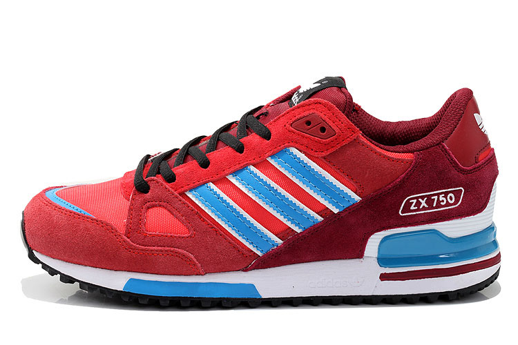 Men\'s/Women\'s Adidas Originals ZX 750 Shoes University Red/Blue/Core Black D65231