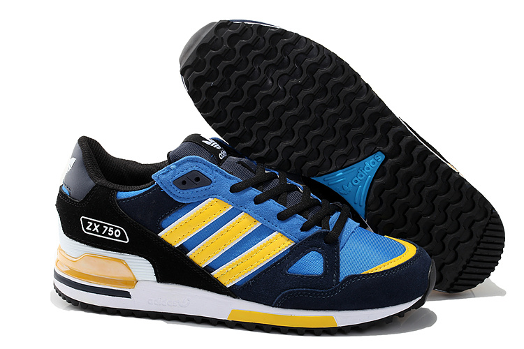 Men's/Women's Adidas Originals ZX 750 Shoes Core Black/Bluebird/Yellow D65230