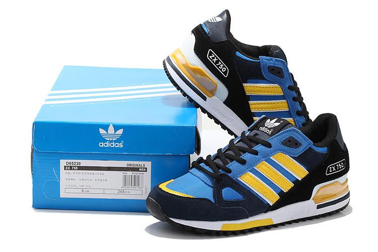 Men\'s/Women\'s Adidas Originals ZX 750 Shoes Core Black/Bluebird/Yellow D65230