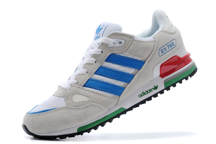 Men\'s/Women\'s Adidas Originals ZX 750 Shoes White/Grey/Blue V20898