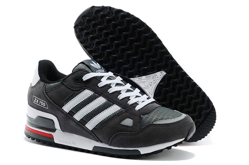 Men's Adidas Originals ZX 750 Shoes Charcoal Grey/White 145352