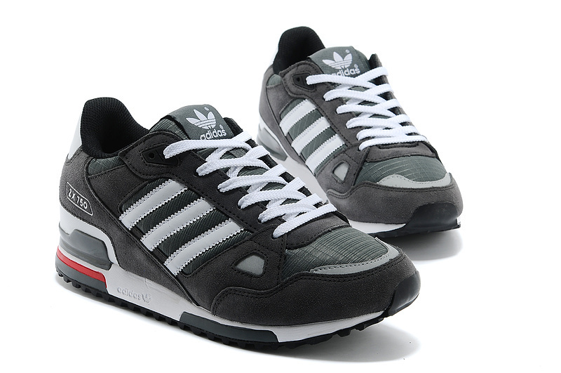 Men\'s Adidas Originals ZX 750 Shoes Charcoal Grey/White 145352