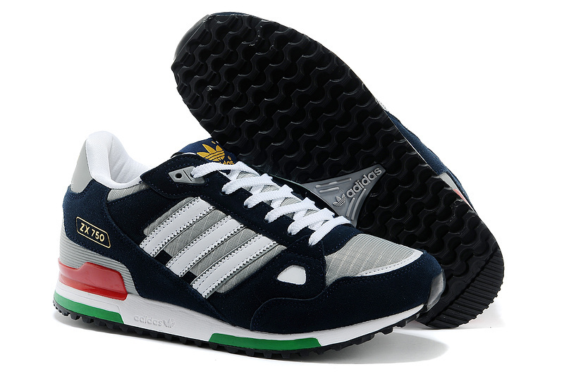 Men's Adidas Originals ZX 750 Shoes Dark Grey/Navy/White G64045