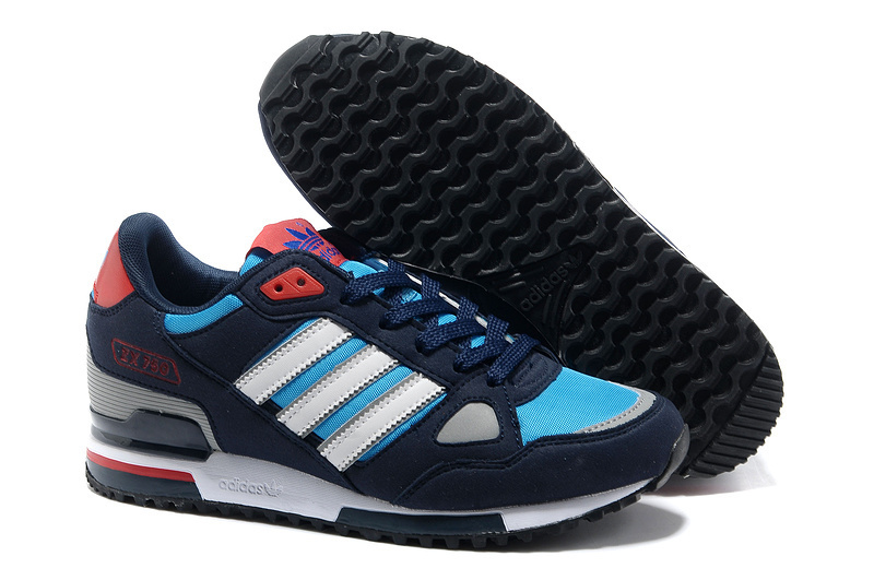 Men's Adidas Originals ZX 750 Shoes Navy/Blod Blue/White