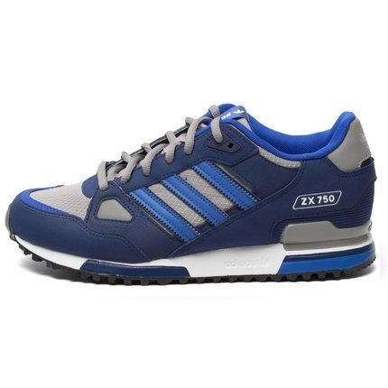 Men's Adidas Originals ZX 750 Shoes Navy Blue/Metallic Grey B23700