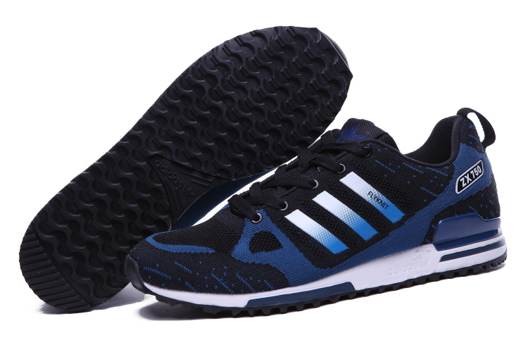 Men's Adidas Originals ZX 750 Flyknit Shoes Black/Navy