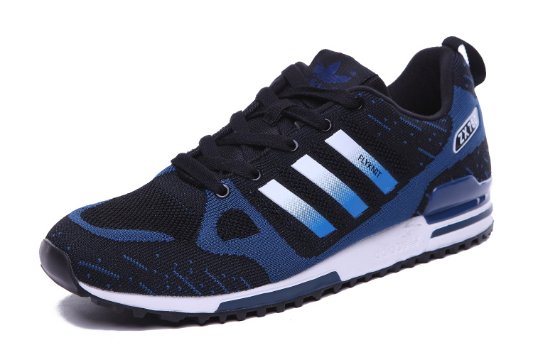 Men\'s Adidas Originals ZX 750 Flyknit Shoes Black/Navy