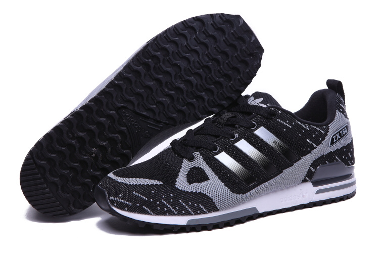 Men's Adidas Originals ZX 750 Flyknit Shoes Black/Silver