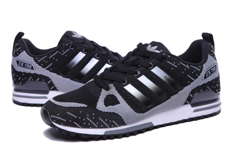 Men\'s Adidas Originals ZX 750 Flyknit Shoes Black/Silver