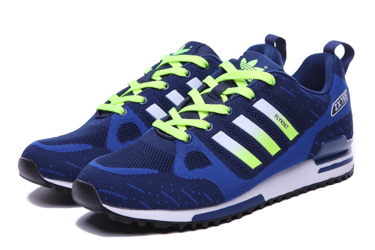 Men\'s Adidas Originals ZX 750 Flyknit Shoes Navy/Blue/Fluorescent Green
