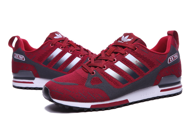 Men\'s Adidas Originals ZX 750 Flyknit Shoes Burgundy/Metallic Grey