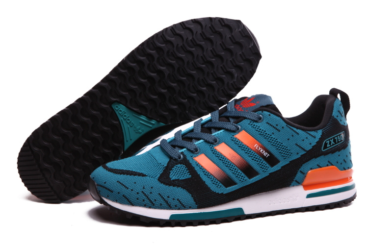 Men's Adidas Originals ZX 750 Flyknit Shoes Lake Blue/Orange