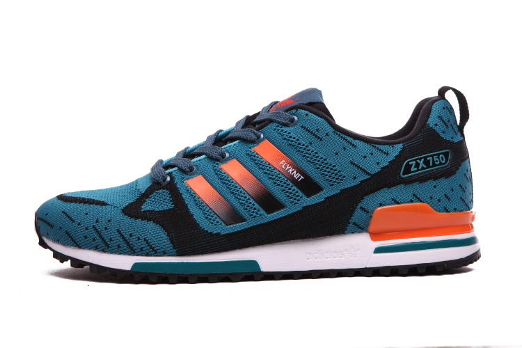Men\'s Adidas Originals ZX 750 Flyknit Shoes Lake Blue/Orange